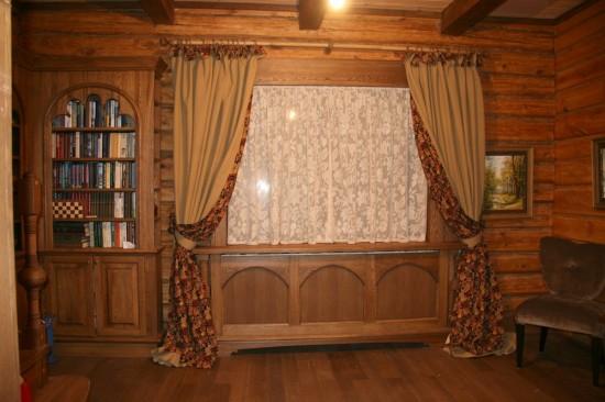 Карнизы для штор в деревянном доме фото